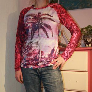 Reel Legends Pink palm tree quick dry shirt